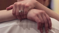 Arms bride groom neck stand by the thought tight 00 Stock Footage