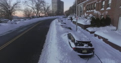 Weehawken Snow 2016 Fly Over Snowed In Cars Stock Footage