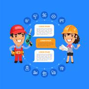 Team Working Cartoon Builders Stock Illustration