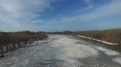 Aerial view of frozen Maumee river, camera moving up Stock Footage