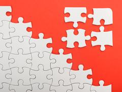 Missing jigsaw puzzle pieces. Business concept. Compliting final task Stock Photos