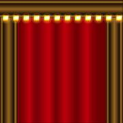 Theater stage red curtains - stock illustration