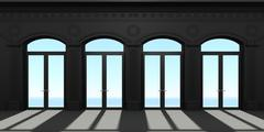 Four arched door - stock illustration