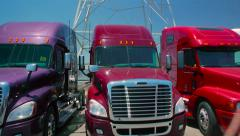 Slow pan down from electric tower to three freight liner trucks parked outdoors Stock Footage