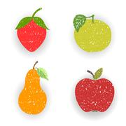 Fruits-pears and apples - stock illustration