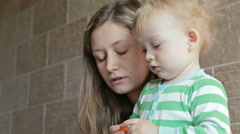 Mother with son sculpts from plasticine Stock Footage