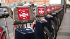 Boris bikes - Public transport bikes close up, London, England, Europe Stock Footage