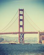 Old film retro style Golden Gate Bridge in San Francisco, USA - stock photo