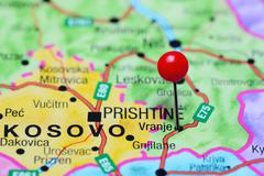 Vranje pinned on a map of Serbia - stock photo