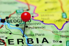 Velika Plana pinned on a map of Serbia - stock photo