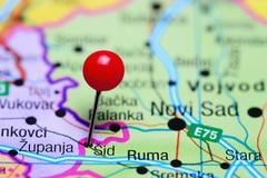 Sid pinned on a map of Serbia - stock photo