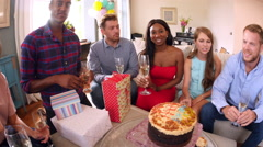 Point Of View Shot Of Friends  Celebrating Birthday Party Stock Footage