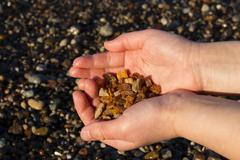 Some pieces of amber found on the Baltic seashore - stock photo