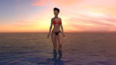 Girl In A Bikini At Sunset or Sunrise - stock illustration