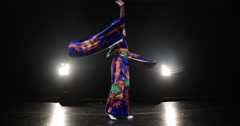 4K beautiful Japanese geisha dancing on stage and posing for the camera,the Stock Footage