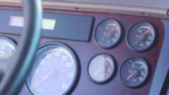 Close up pan of freight liner truck dashboard Stock Footage
