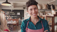 Portrait Of Female Owner Of Gift Store Shot On R3D Stock Footage