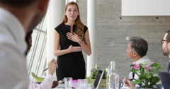 Businesswoman Leading Meeting At Boardroom Table Shot On R3D Stock Footage