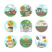 Farming flat color vector icons set Piirros