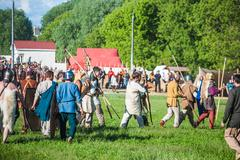 Historical reenactment of Boudica's rebellion - stock photo