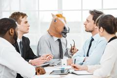 Funny concept for teamwork and knowledge transfer - stock photo