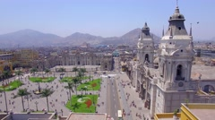 Flight over Main Square, Cathedral of Lima Stock Footage