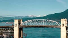 Close aerial burrard bridge Stock Footage