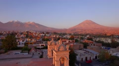 Stock Video Footage of Arequipa volcano at sunset