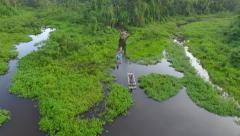 Wooden rafts on amazon - stock footage