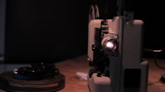 Old film projector black background Stock Footage