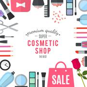 Professional quality cosmetics shop. Vector - stock illustration