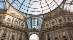 Overview nave of the central gallery in MilanVittorio Emanuele Galley Stock Footage