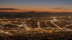 Burbank and Los Angeles Dusk Time Lapse Stock Footage