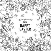 Awesome Happy Easter card in vector - stock illustration