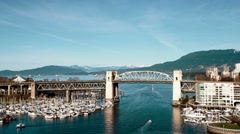 Aerial medium angle Burrard bridge Stock Footage