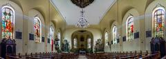 Majestic church interior panoramic view - stock photo