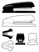 Stapler and staple remover - stock illustration