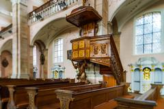 Baroque style church interior view - stock photo