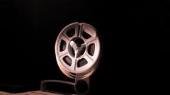 end of 8 mm film projector filmstrip reel - stock footage