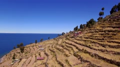 Flight over Taquile island, Titicaca lake Stock Footage