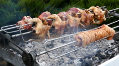 Rows of chickens and pork knuckle, cooking on a rotisserie Stock Footage