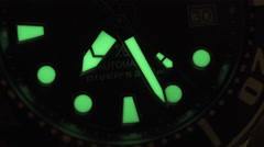 Glow in the dark watch lume paint. Extreme Close up seconds hand. Stock Footage