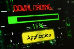 Downloading Application - stock photo