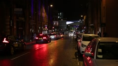 Night traffic in Liverpool, England, Europe Stock Footage