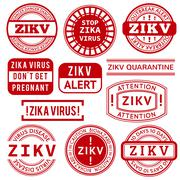 Red and white Zika Virus stamps - stock illustration