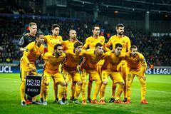 Borisov, Belarus - October 2015. F.C. Barcelona team Stock Photos