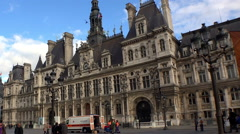 Hotel de Ville, the city hall of Paris. France. - stock footage