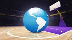 America world map on basketball court at arena Stock Illustration