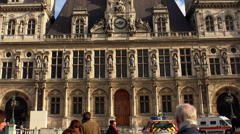Hotel de Ville, the city hall of Paris. France. Stock Footage