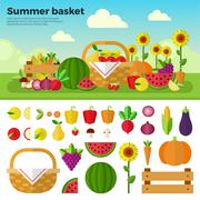 Basket full of fruits and vegetables Stock Illustration